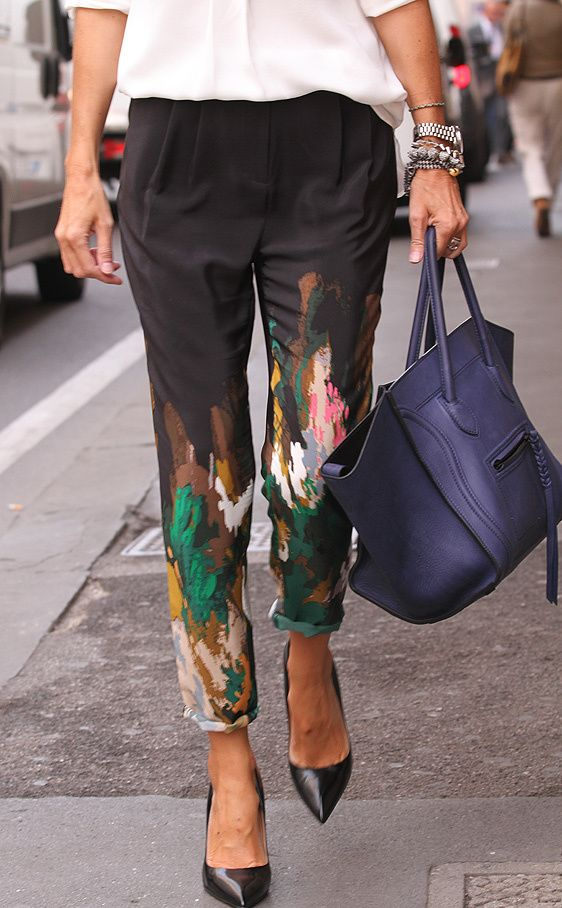 fun pants celine bags pointy shoes cute: Paintings Pants, Prints Pants, Fashion, Trousers, Celine Bags, Street Style, Diy Clothing, Wear, Black Pants