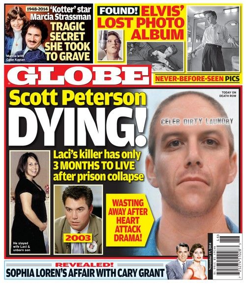 globe scott peterson dying on death row   laci s killer