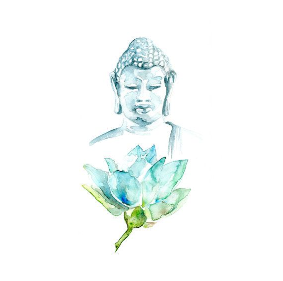 Lotus and Buddha Watercolor Art print. Watercolour Buddha on high quality archival Paper. Buddism Art.
