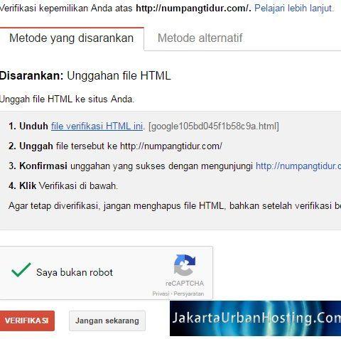 verifikasi domain ke google search engine untuk optimasi website