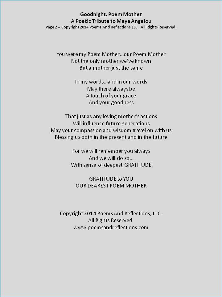Pin on Maya Angelou - Poetetic Tribute - Poem Mother