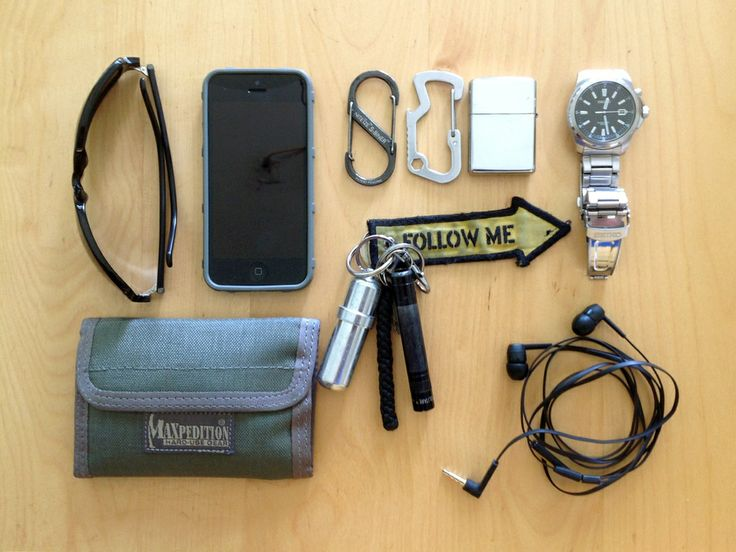 Iphone 5 with magpul foliage green case Seiko kinetic watch Zippo armor chrome Zippo fuel-canister on my keychain Philips earbuds Maxpediti...