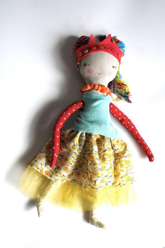 rainbow hair cloth doll rag doll handmade scrappy by humbletoys