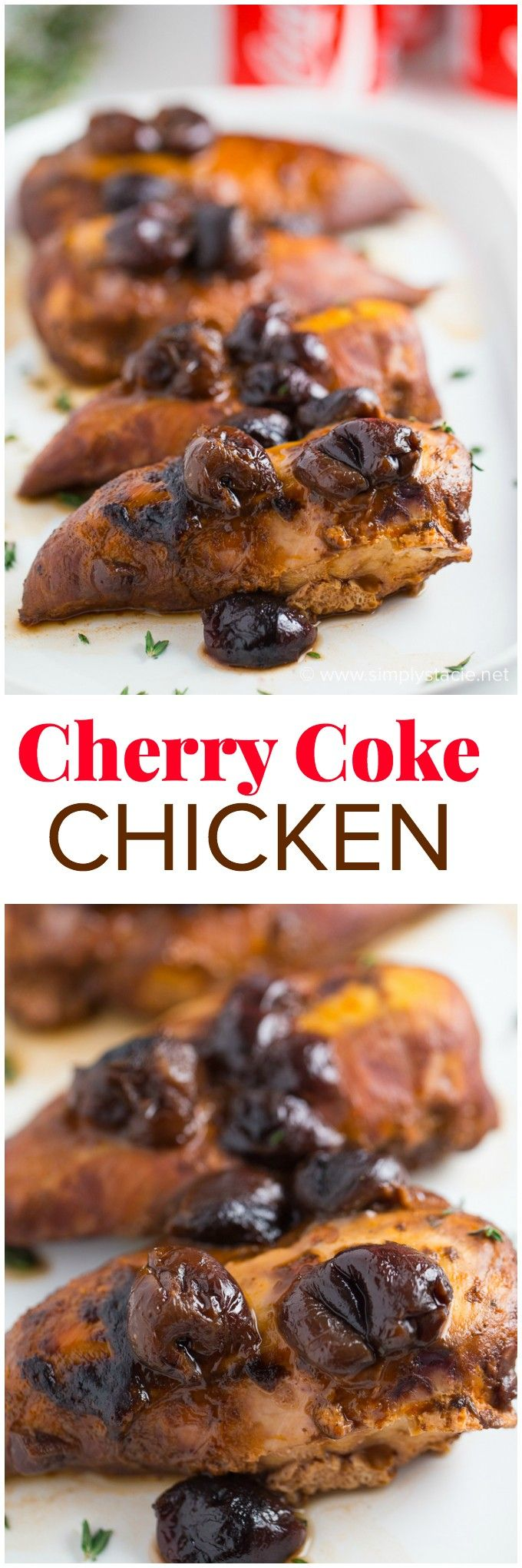 Cherry Coke Chicken - Only four ingredients in this simple slow cooker recipe that will knock your socks off!