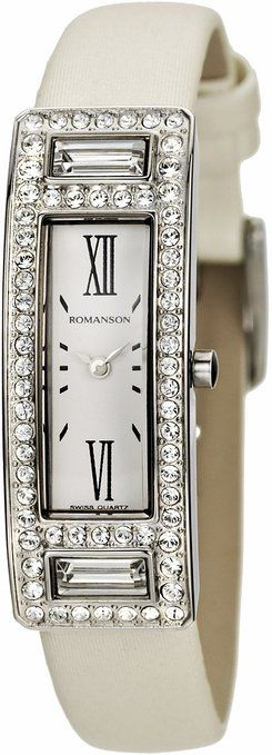 Romanson Women's RL7244TL1WA15W Swiss Quartz Watch with Swarovski Elements