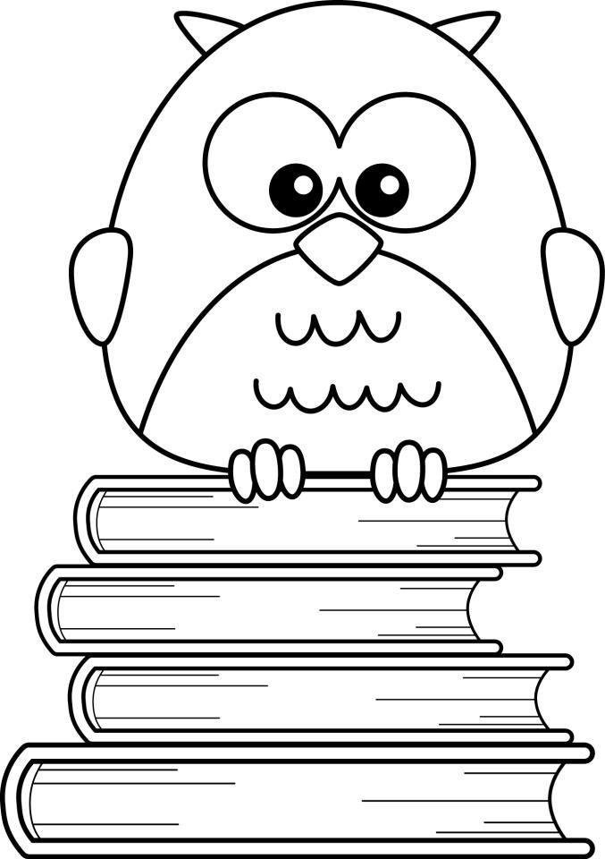 Coruja sobre livros.