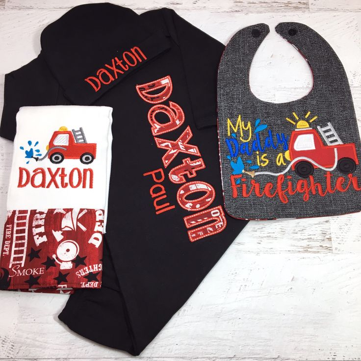 Newborn Firefighter Outfit, Firefighter baby Bring Home Outfit, Personalized Firefighter Baby Gown,  Newborn boy coming home outfit by StitchandQuilt on Etsy https://www.etsy.com/listing/574795668/newborn-firefighter-outfit-firefighter