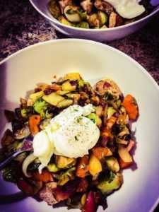 Paleo warm bacon, brussels and sweet potato hash.