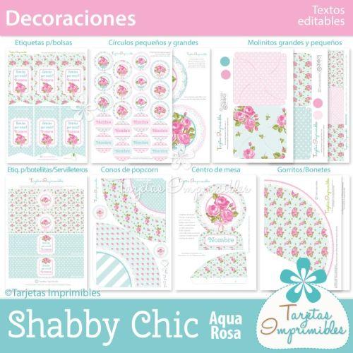 decoraciones-imprimibles-de-fiesta-shabby-chic-aqua-rosa