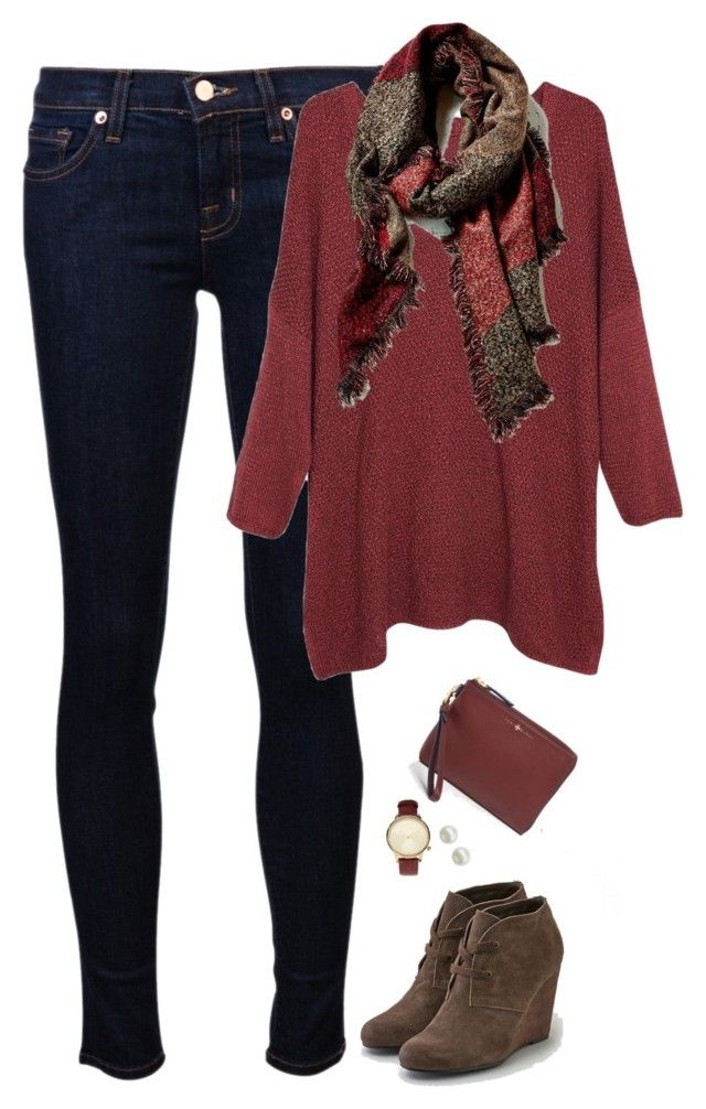 """Oversized top & scarf with wedge boots"" by steffiestaffie ❤ liked on Polyvore featuring Tory Burch, J Brand, Violeta by Mango, Majorica, Komono and American Eagle Outfitters"