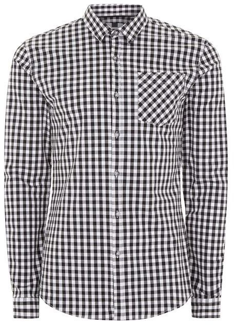 Topman Black and White Gingham Muscle Shirt
