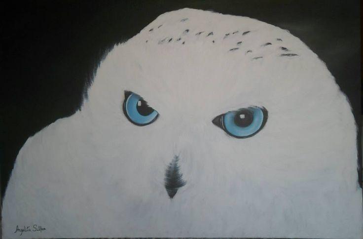 Óleo sobre Tela - Coruja das Neves #pintura #coruja #amocoruja