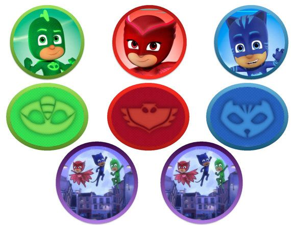 P.J. Masks Cupcake Topper or Party Favor Tags DIGITAL FILE. You will receive 1 PDF files. -20 toppers on one page. *3 Catboy *3 Gecko *3 Owlette