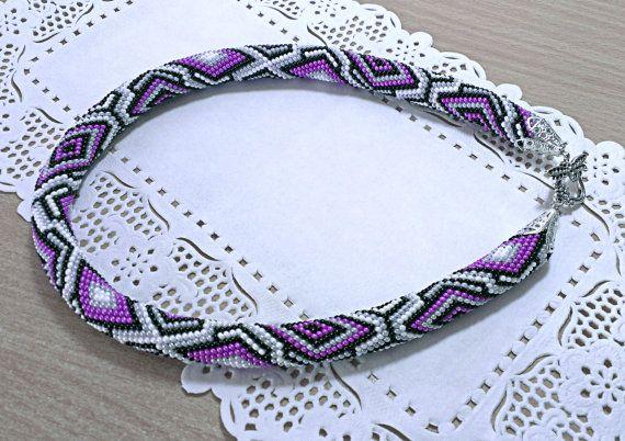 Beaded rope Crochet beaded rope Geometric pattern by ElegantBiju