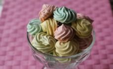 """""""Rainbow Meringues"""" are cheap and easy to make. Plus they add some color and are very tasty."""