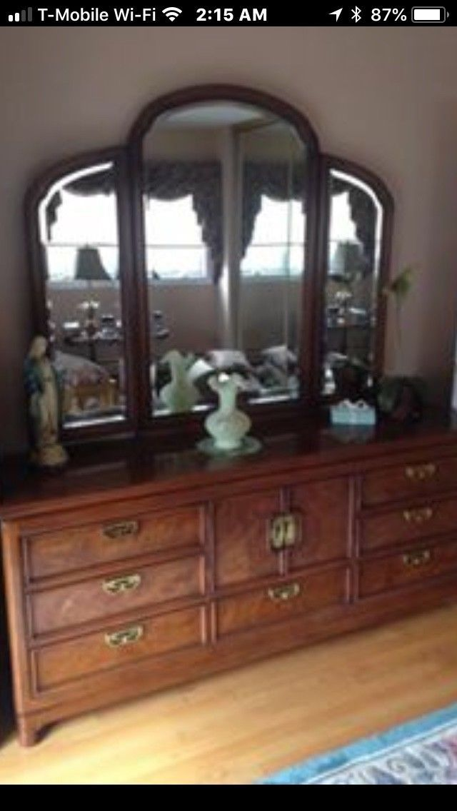 Bedroom Set Thomasville Mystique 5 Piece Solid Burl Wood Asian Oriental Burled Wood Bedroom Set Thomasville