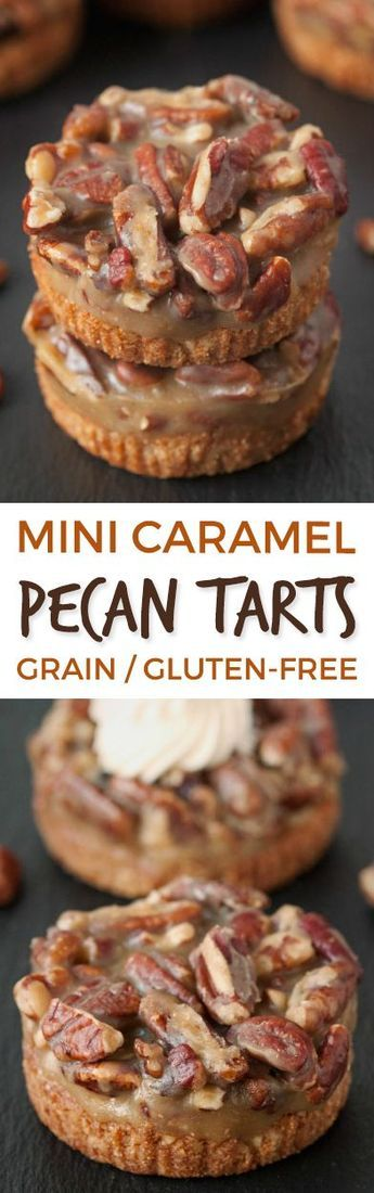 These Grain-free and Gluten-free Mini Caramel Pecan Tarts have a graham cracker like crust and are super easy to put together!