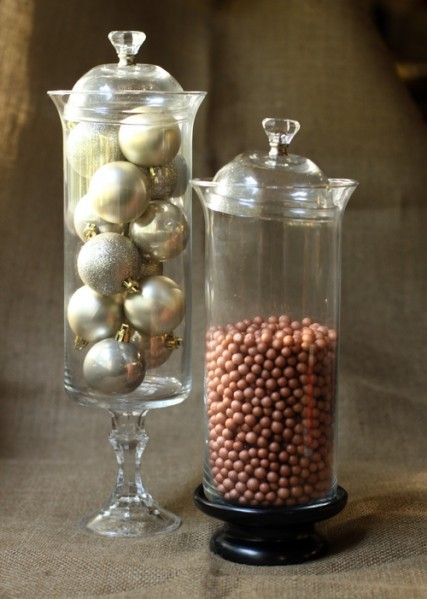 Apothocary jars made with candle holders, small bowls and drawer handles