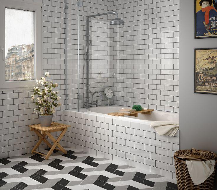 Rhombus White, Light Grey, Black (suelo), Evolution Blanco Brillo (pared) nais.es