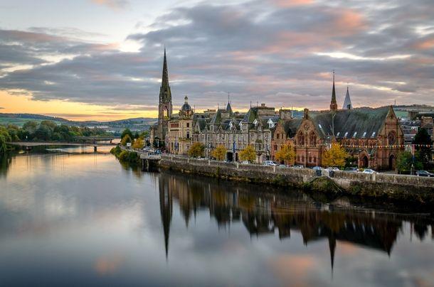 Perth, Scotland aglow. Where I live.