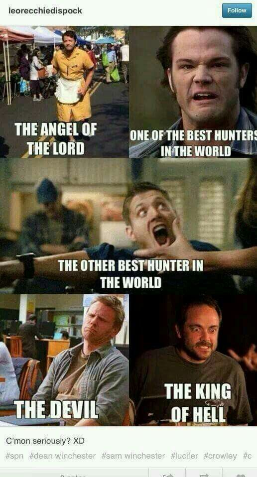 Castiel, Sam Winchester, Dean Winchester, Lucifer and Crowley / Misha Collins, Jared Padalecki, Jensen Ackles, Mark Pellegrino and Mark Sheppard