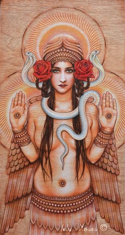 "darkbastardsoul: ""Inanna, Sumerian Goddess of Love "" !!! This is exactly what the snake around Inanna's neck looked like in my dream."