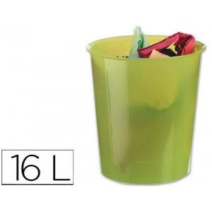 Papelera de plastico resistente color Verde translúcido