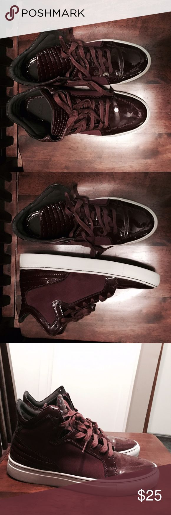 Zara High Top Shoes #High Top Shoes #for Men #Gently used #Box not included #Burgundy #Size: EU 42 / US 9 Zara Shoes Sneakers