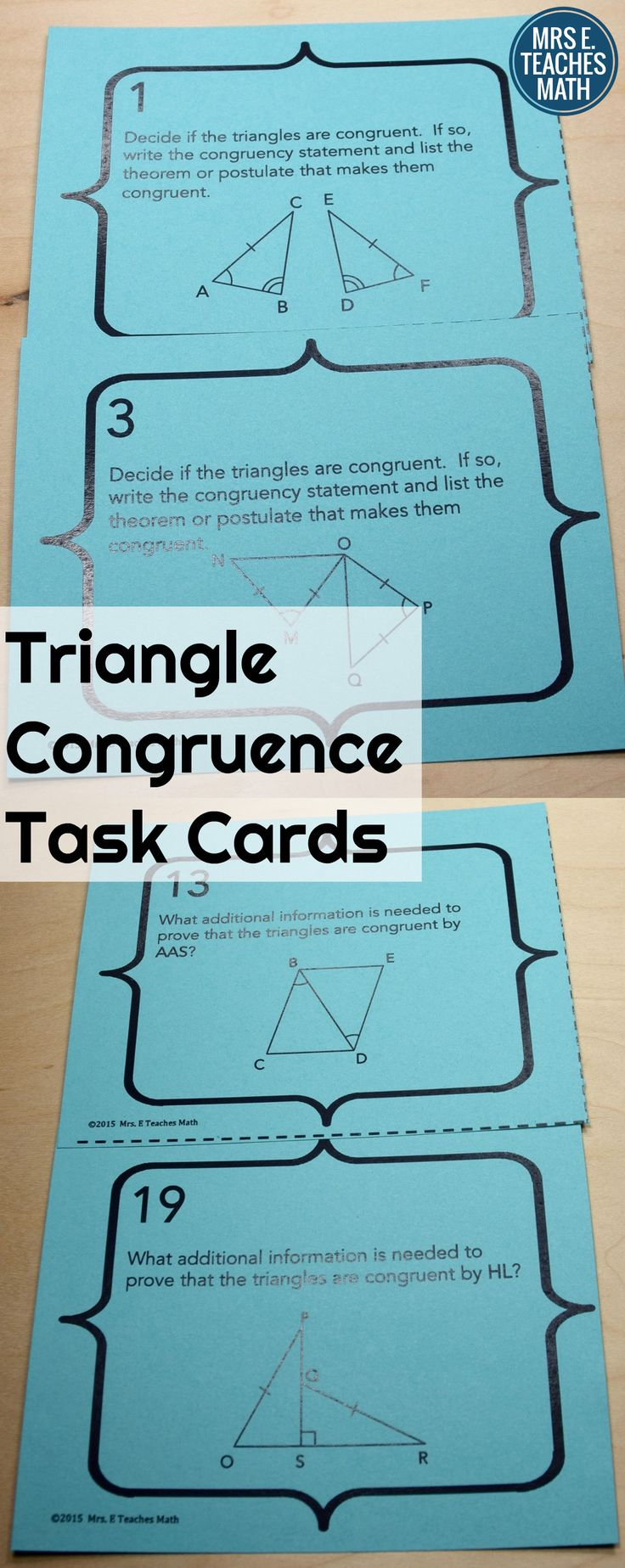 Triangle Congruence Task Cards - students practice congruent triangle rules with these task cards