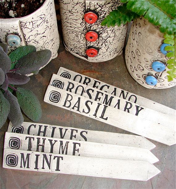 Clay Garden Plant Markers  Three Stakes per Set by playfularts, $18.00