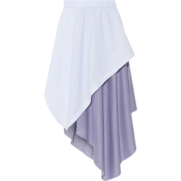 Opening Ceremony Cody wrap-effect striped jersey and poplin skirt ($275) ❤ liked on Polyvore featuring skirts, sky blue, layered skirt, poplin skirt, asymmetrical wrap skirts, asymmetrical skirt and striped jersey