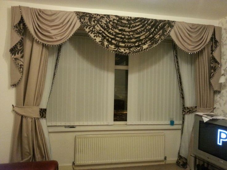 Stunning swags and tails with double curtains curtain for Living room valances and swags