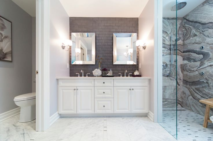 """Progress Lighting Fortune wall scones add a little glamour to this """"rough luxe"""" bathroom remodel. View Fortune: http://progresslighting.com/products/?q=fortune"""