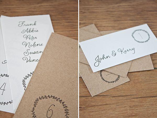 Free Printable Wedding Escort Cards & Table Numbers