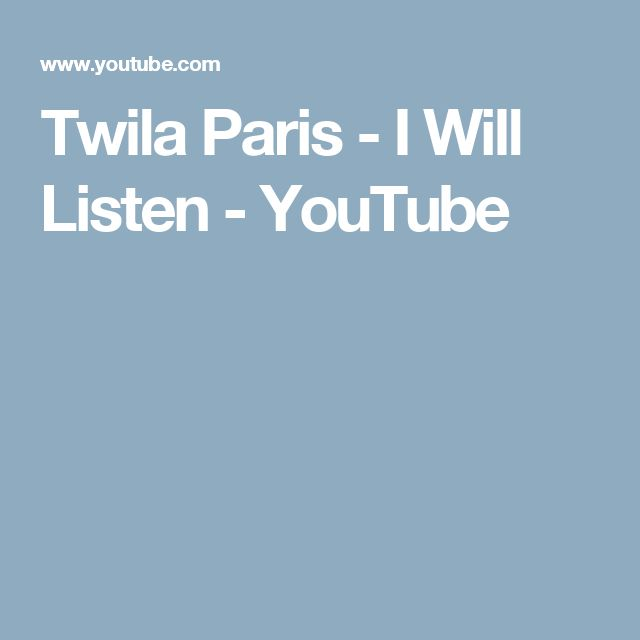 Twila Paris - I Will Listen - YouTube