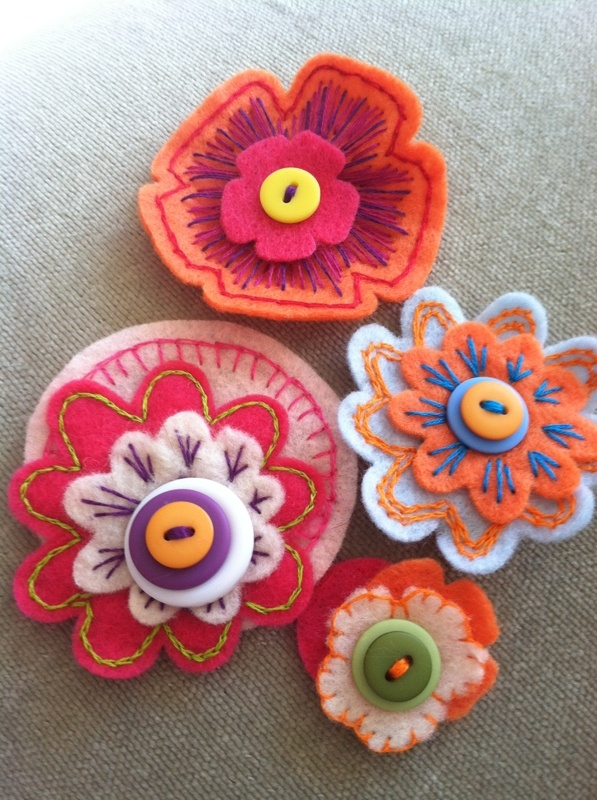 I made these lovely felt flowers!