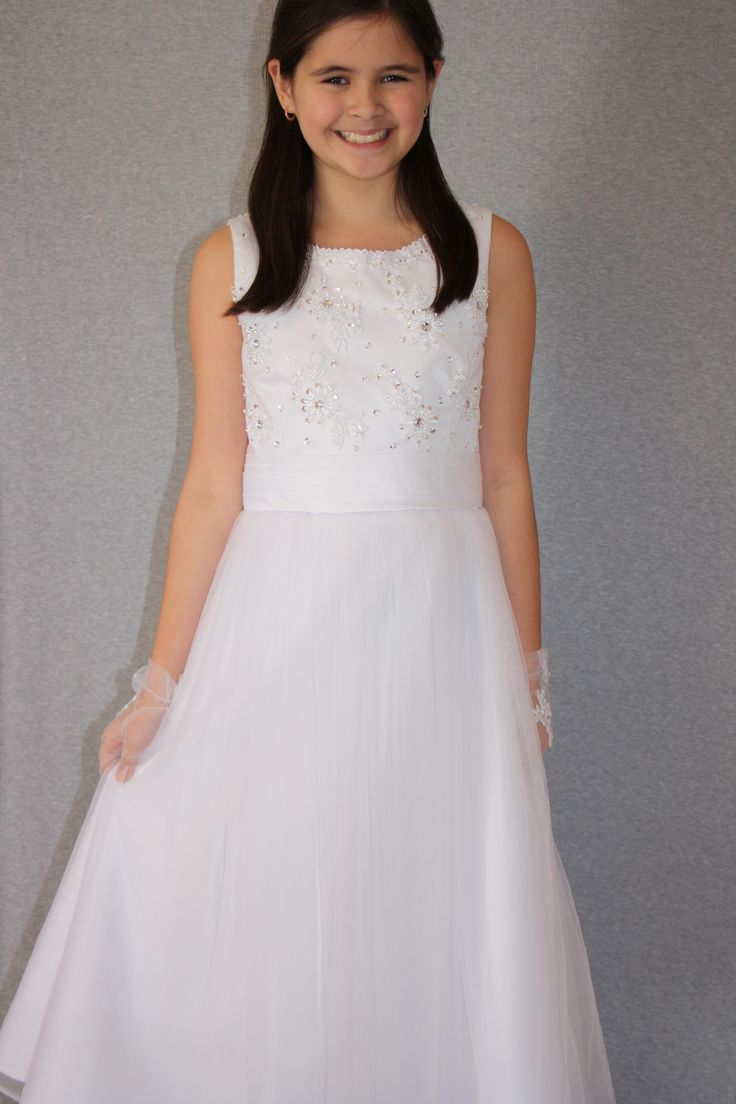 Lace and Tulle First Communion Dress from Silk n Satin Communion Dresses. $75. https://silknsatincommuniondresses.com.au/product/pearl/