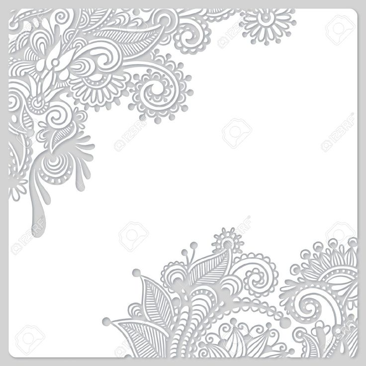 Wedding Boarder Paper: 18385288-abstract-modern-floral-white-paper-cut-design