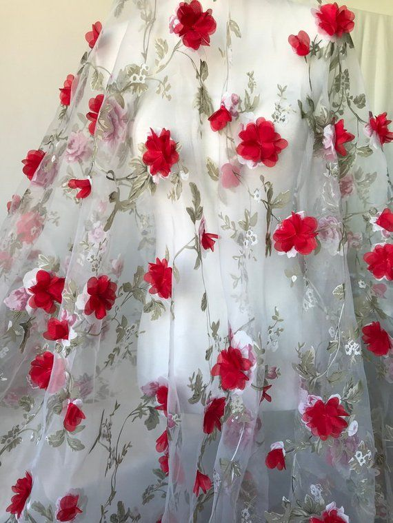 Green Leaf Organza Fabric With Wine Red 3d Chiffon Flowers For