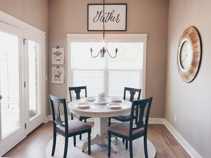 Modern Farmhouse // French Country // Home Decor // Farmhouse Home // Farmhouse Round Table // Farmhouse Lighting // White Round Table // Pedestal Table // Gather Sign // Farmhouse Home Decor // White Rug // Breakfast Table // Breakfast Nook // Dining Chairs //