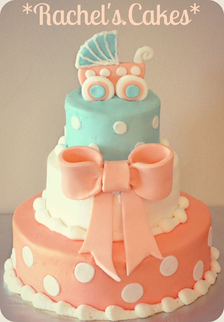 Coral and turquoise baby girl shower cake
