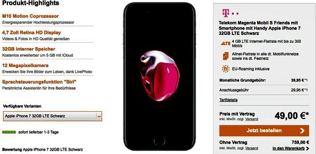Telekom Aktion mit dem Telekom Mobil S Friends mit Kostenlosen Beats X Kopfhörer und 6 Monate Apple Music mit dem Apple iPhone 7 32GB für 16,95 Euro effektive Grundgebühr im Netz der Telekom.