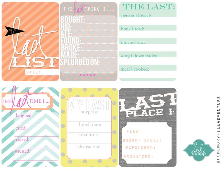 Free The Last List Journal Cards from Heidi Swapp + Creating Your Own Memory File Mini Album