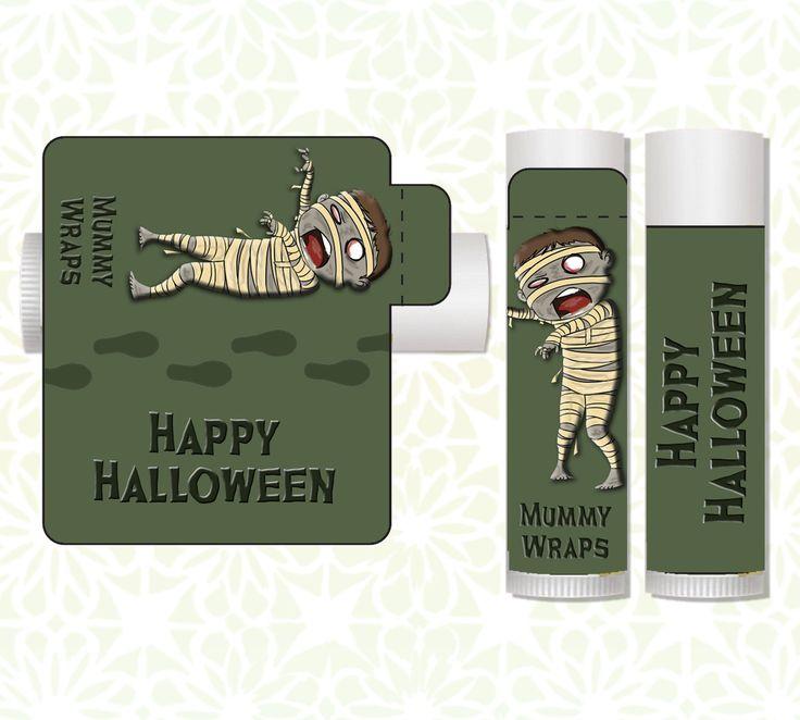 Lip Balm Labels - Halloween Lip Balms, Halloween Favors, Classroom Treats, Halloween Party Favors, Candy Alternative, Halloween Mummy by LittlePrintsOttawa on Etsy