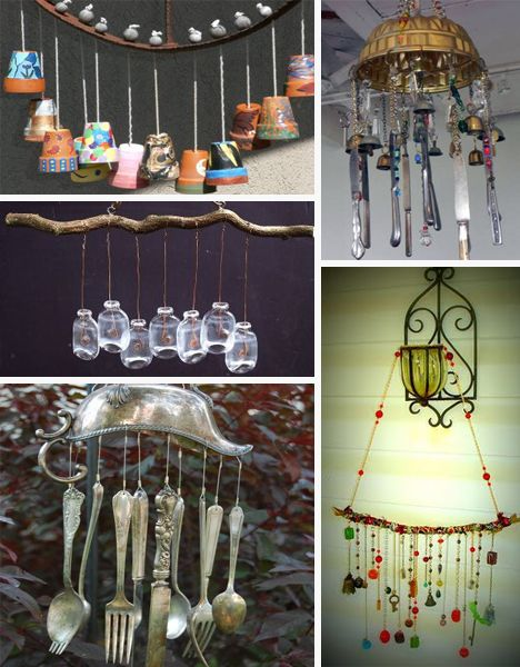 Tons of ideas for wind chimes made from recycled materials for Wind chimes from recycled materials