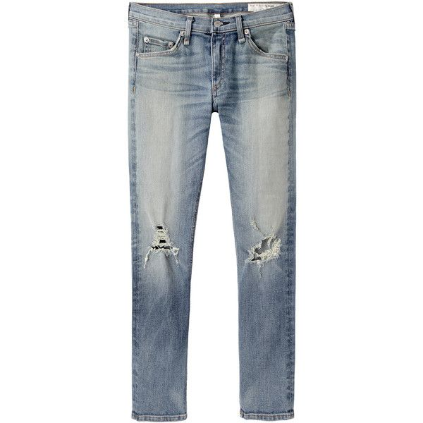 Rag & Bone / Jean Skinny Capri Jean (145 CAD) ❤ liked on Polyvore featuring jeans, pants, bottoms, trousers, faded skinny jeans, ripped jeans, ripped blue jeans, torn skinny jeans and super skinny ripped jeans