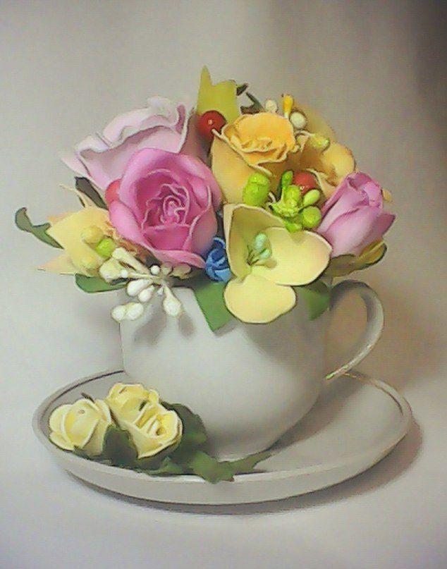 Букет в чашке. Цветы из фомиарана