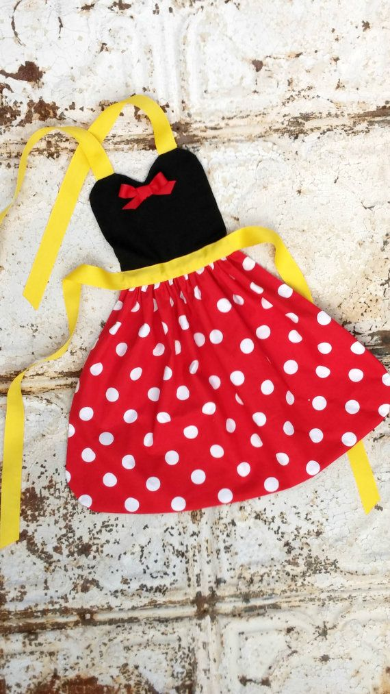 MINNIE MOUSE Sewing PATTERN. Disney inspired Child Costume Apron. Dress up. Play. Photo shoot prop. Fits 2t, 3t, 4, 5, 6, 7, 8. Girls. on Etsy, $5.00