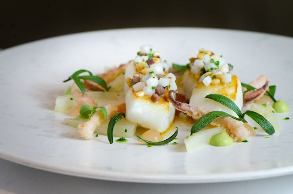 John Dory: Wild Sea Fennel, Grapefruit Gel, Squid, Black Olives, and Pine Nuts.    Pied a Terre - London, England.