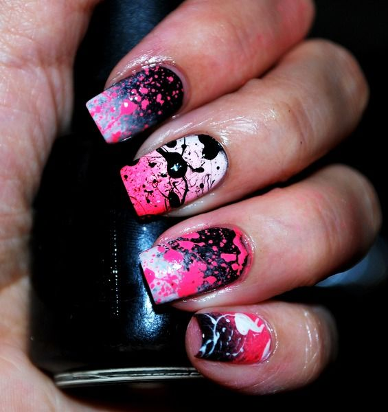 Splatter gradient nails.